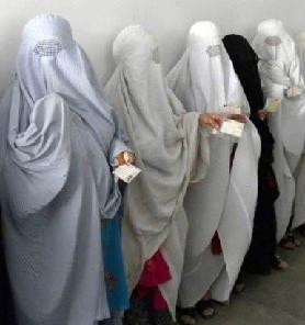 burka-clad women