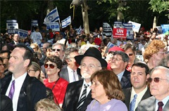 Demonstrators protest Iranian President Mahmoud Ahmadinejad across from the United Nations in New York on Sept. 20, 2006, in a rally organized by the Conference of Presidents of Major American Jewish Organizations.