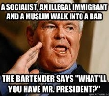 A socialist, an illegal immigrant and a Muslim walk into a bar - the bartender says What'll you have Mr. President?