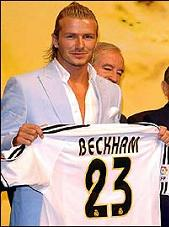 David Beckham will wear the number 23 shirt at Real Madrid next season