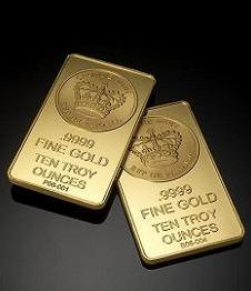 Ten Troy Ounce Gold Bars from Crowne Gold