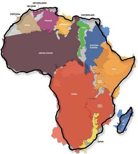 map of africa with us, china superimposed