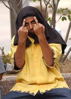 Muslim giving the finger
