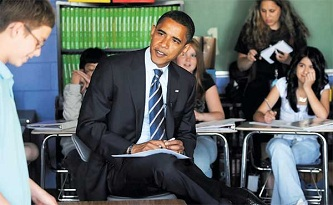 Obama Visits A Primary School To Talk To The Kids
