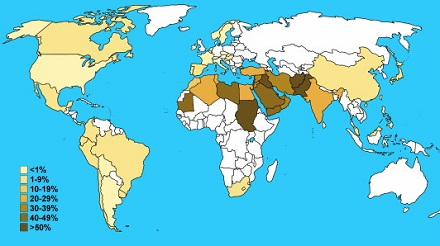Schematic representation of consanguineous marriage rates worldwide