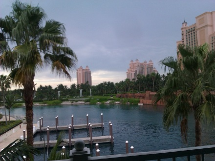Harborside view of Royal Towers in Atlantis