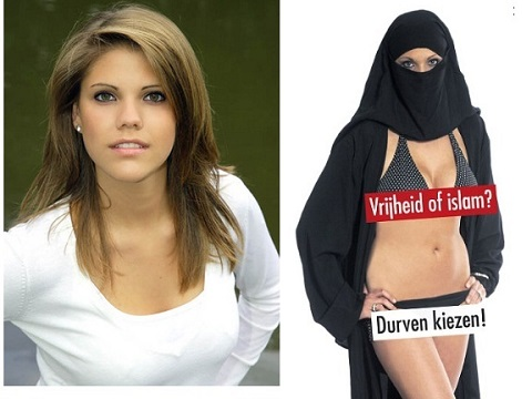An-Sofie Dewinter, 19-year-old daughter of Filip Dewinter, the leader of Vlaams Belang, poses in a shocking poster for the party's campaign against Islamization and discrimination of women using the slogan: 'Freedom or Islam? Dare to choose.'