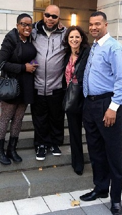 Gerard Richardson was released from a New Jersey prison after serving 19 years for a murder new DNA evidence shows he didn't commit. He's pictured above (2nd from left) with his sister Yvette, Innocence Project Senior Staff Attorney Vanessa Potkin and his brother Kevin.