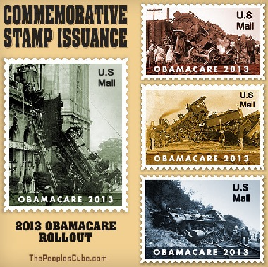 USPS® Forever Stamps commemorating the 2013 Obamacare Trainwreck Rollout