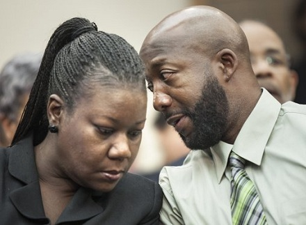 Sybrina Fulton and Tracy Martin, the <strike>unmarried</strike> divorced parents of Trayvon Martin