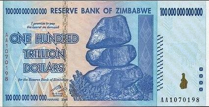 Reserve bank of Zimbabwe, 100 Trillion dollars