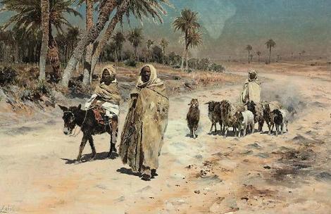 Antonino Leto (Italian, 1844-1913) Arab sheep herders