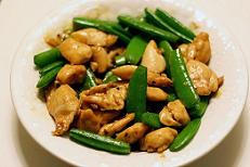 chicken marinated in black bean and garlic sauce, stir-fried with snow peas