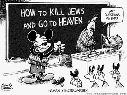 hamas cartoon - how to get to heaven: kill Jews