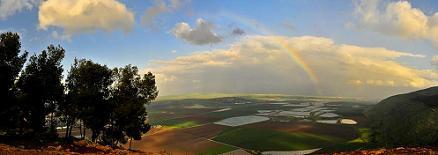 Rain and sun above Jezreel Valley, Israel