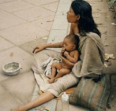muslim woman and child begging