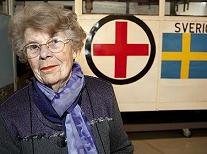 Judith Popinski: Judith Popinski pictured next to the White Bus at the Red Cross museum in Malmo, Sweden  Photo: SCANPIX