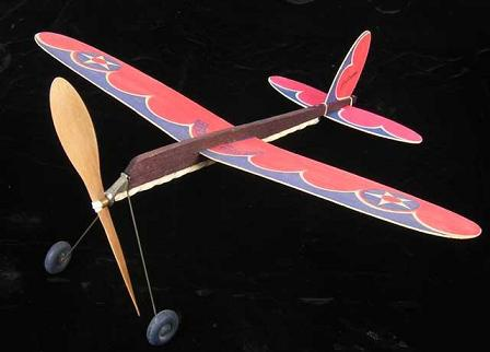 The Jim Walker Pursuit - Rubber powered balsa plane from American Junior