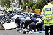 Muslims praying at London's City University