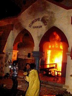 A church in the Pakistani city of Sukkur was attacked in February 2006 after accusations that a local Christian man had burned pages from the Koran.