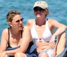 Ellen DeGeneres and Portia de Rossi yachting in Sardinia, Italy (2008)