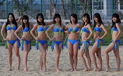 Chinese cheerleaders at volley games