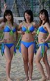Chinese cheerleaders at volley games