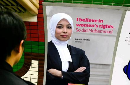 Info-ad on the London Underground - Mohammed believed in women's rights