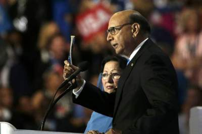 Khizr Khan, whose son, Captain Humayun Khan, was killed while serving in the U.S. Army in 2004, producing a copy of the U.S. Constitution at the Democratic National Convention in Philadelphia on July 28. Photo: Reuters