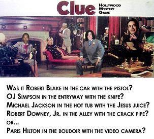 robert blake oj simpson michael jackson paris hilton robert downey jr  hollywood clue