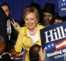 Sen. Hillary Rodham Clinton celebrates with her useful idiots yesterday at the Sheraton in Manhattan. Her 67 percent win sets her up as the early Dem favorite for president.