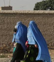 Blue burkhas. Afghanistan.