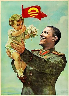 Obama as Stalin with child