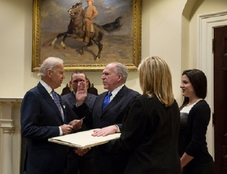Brennan was sworn in with his hand on an original draft of the Constitution,  dating from 1787, which has George Washington's personal handwriting and  annotations on it.