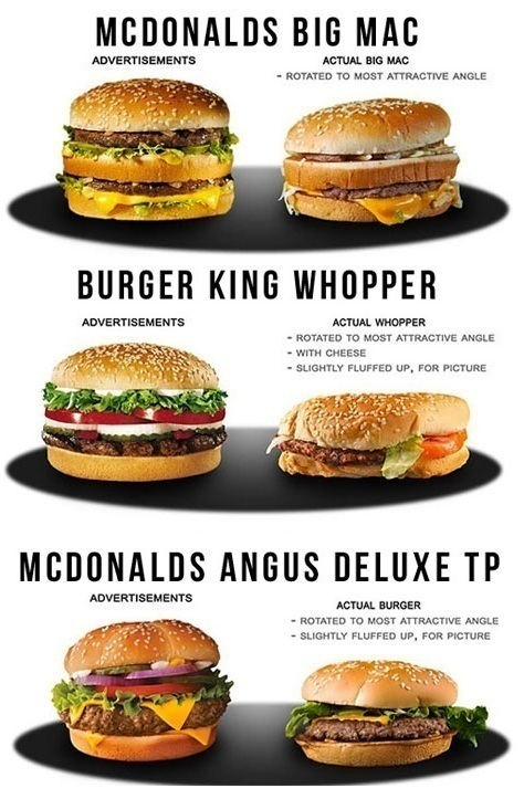 fake images of advertised hamburgers