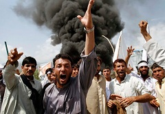 Here in Jalalabad and other cities in Afghanistian, there were demonstrations against the planned burning of a Quran. Some people died.