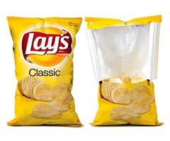 Frito-Lay chip bags are half-filled