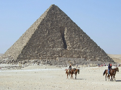the Pyramid of Menkaure, the smallest of the three Great Pyramids of Giza