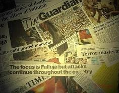 a focus on headlines from the papers about the war on Iraq