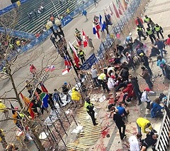two explosions devastate Boston Marathon. Many gravely injured