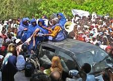 Hundreds of Chadian women protest against children trafficking in Abeche, in the east of Chad.