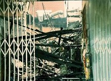 LA raged  from April 29,1992 until May 1st. This was a business on Hollywood Blvd. All that was left were the security doors.