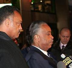 Rev Jesse Jackson and Rev Al Sharpton - Press conference outside NBC in New York about the Don Imus comments regarding the Rutgers female basketball team. 4/11/07