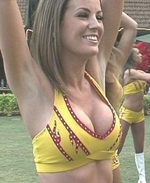 The Washington Redskins' cheerleaders practice before performing in front of an Indian audience in Bangalore