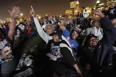 Barack Obama supporters celebrate election results in Grant Park