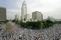 LA GRAN MARCHA- March 25, 2006 - In foreground is LA City Hall.