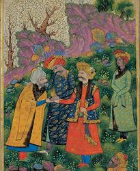 The Sultan (in red robe) is to the right, shaking the hand of the sheykh, with Ayaz (in green robe) standing behind him. The figure to his right is Shah Abbas I who reigned about 600 years later. Tehran Museum of Contemporary Art, Tehran