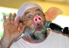 a pig squealing contestant at the French Pig-Squealing Championships