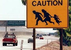 Mexico Border Crossing warning sign