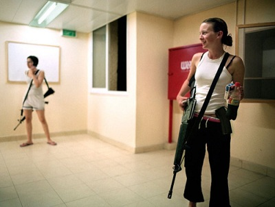 Pretty girls on Israeli streets with guns